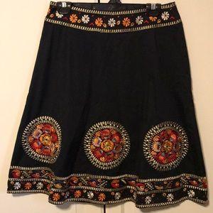 Presaman NY black embroidered skirt. Size 6